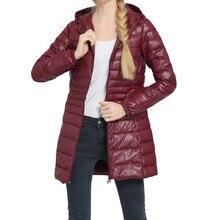 6XL 7XL размера плюс пуховик женский длинный зимний ультра легкий пуховик Женская куртка с капюшоном теплое пальто FD