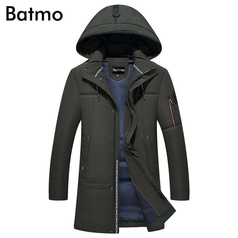 Batmo 2017 новое поступление Зима Высокое качество 90% белая утка вниз шапка Съемная куртка мужская зеленые зимние теплые мужские пальто f5011