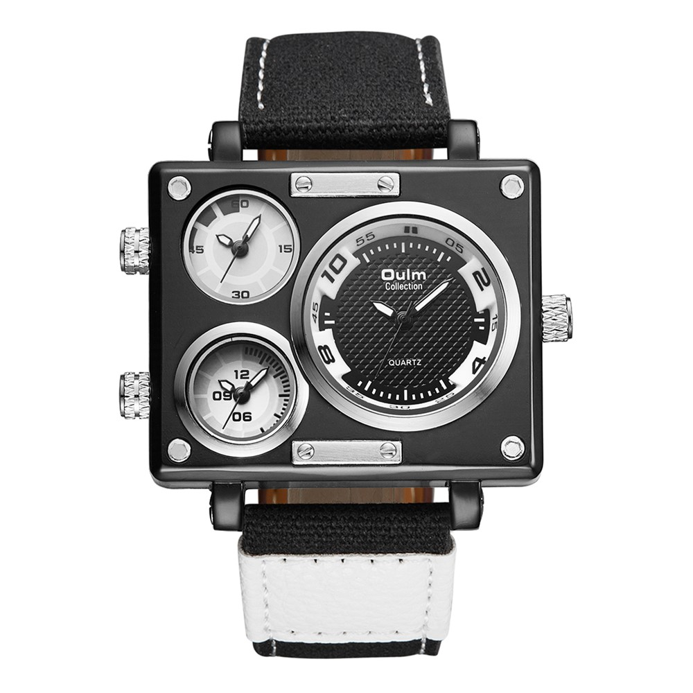 TEAROKE Oulm Fabric Strap Male Square Watch Multi Time Zone Top Brand Luxury Watch Famous Brand Design Clock Casual Man Hours
