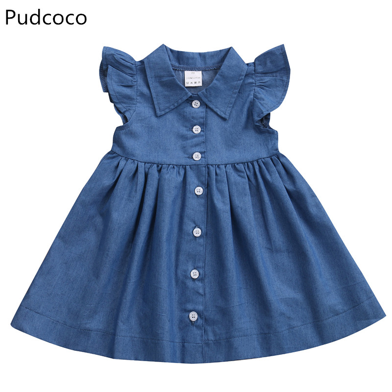 Pudcoco Toddler Baby Kids Girl Sleeveless Princess Summer Sundress Party Jeans Dress Clothes ems dhl free shipping toddler little girl s 2017 princess ruffles layers sleeveless lace dress summer style suspender