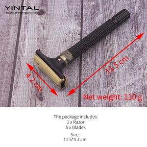 Image 5 - YINTALปรับผีเสื้อเปิดคู่ขอบมีดโกน3สีทองเหลืองยาวมีดโกนหนวด