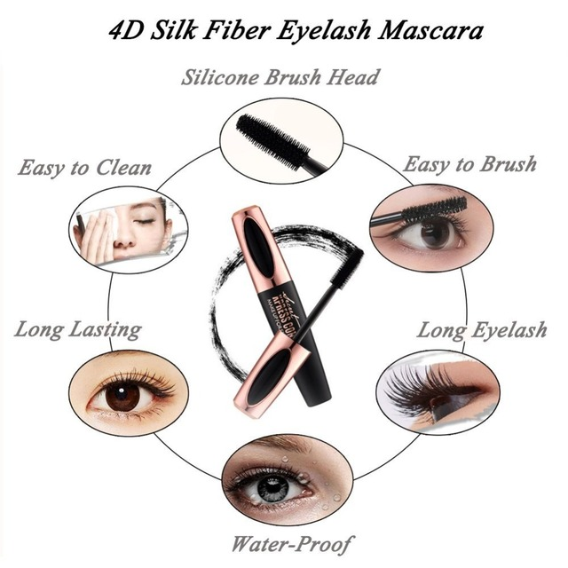US Stock 4D Silk Fiber Lash Mascara Waterproof Rimel Mascara For Eyelash Extension Thick Lengthening Eye Lashes Cosmetics Tools 4