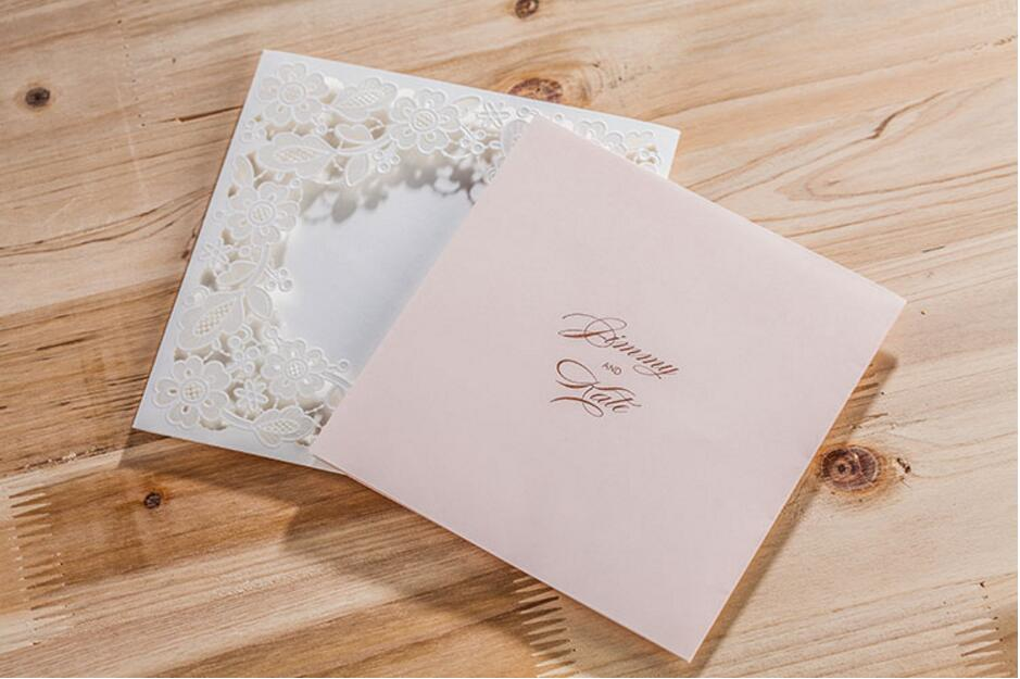 100PCS Pink Laser cut lace wedding invitations card ,Customized ...