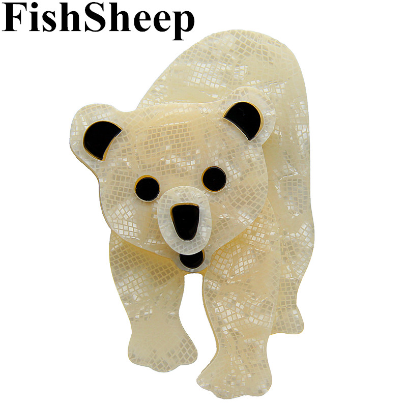 FishSheep Acrylic Polar Bear Brooches For Women Lovely Animal Resin Lapel Pin Brooch Jewelry Female Badge Clothes Accessories