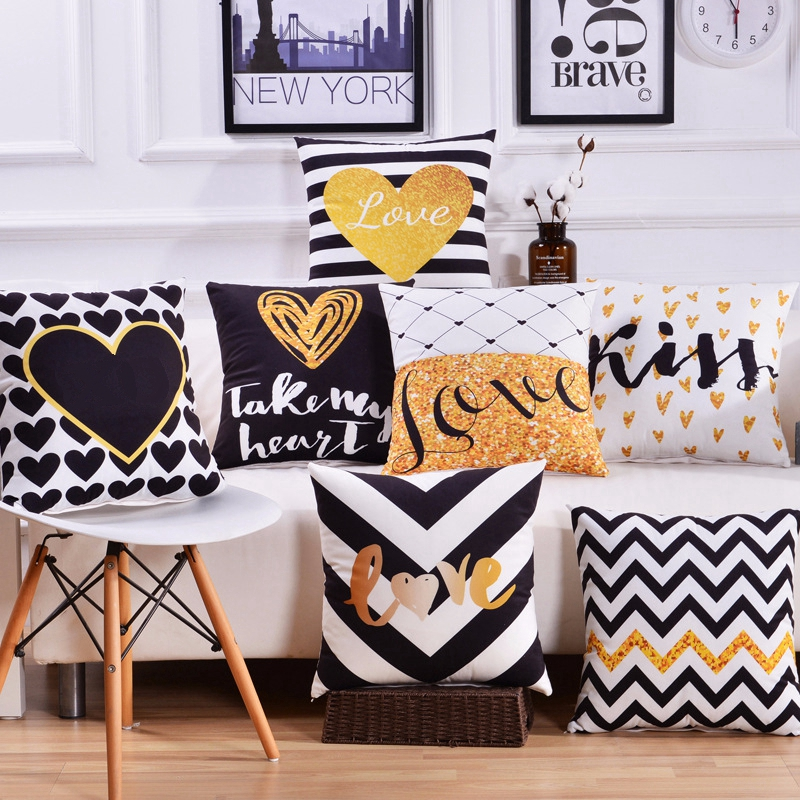 Nordic Deer Cushion Cover Geometric Gold Love Heart Printed Pillow Covers Office Chair Sofa Car Seat Home Decor Throw Pillows