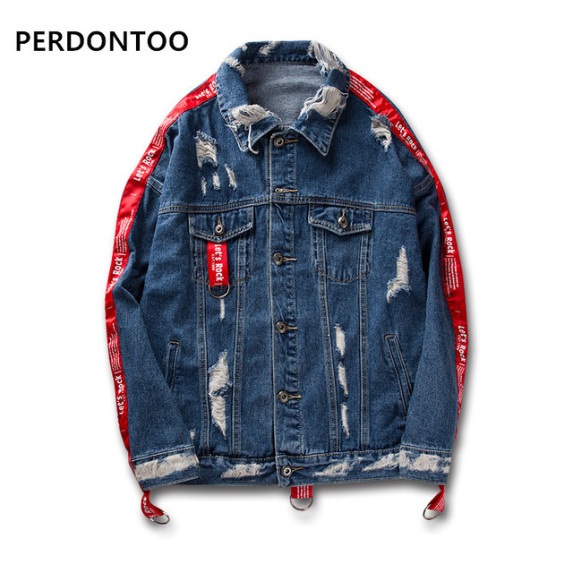 3e6c17d4d6a Distressed Ripped Denim Jacket Mens Hip Hop Printed Denim Jackets Male  Fashion Ribbon Jeans Coats Streetwear