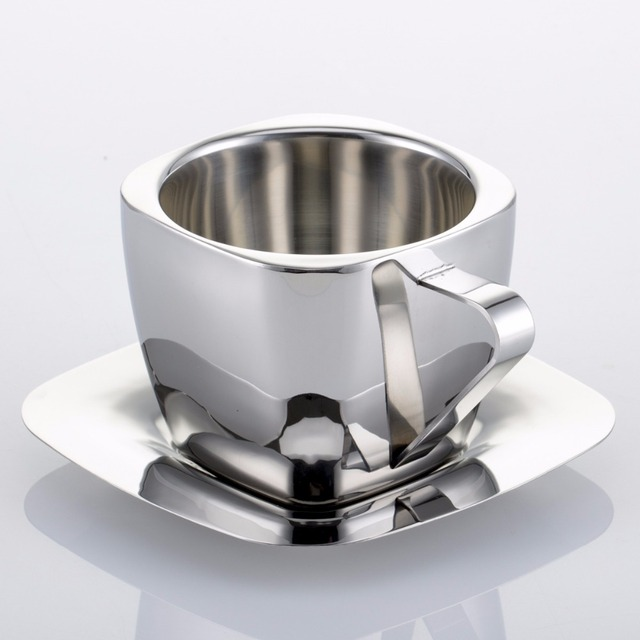 Stainless Steel Coffee Cup Double Anti Hot Insulation Lugs Vacuum Square Tea Cups And