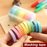 10 Color Lot Mini Rainbow Paper Tape Set Candy Color Adhesive Masking Tapes Scrapbooking Stickers Papeleria