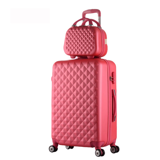 Hot fashion sales Diamond lines Trolley suitcase set/travel case luggage/Pull Rod trunk rolling spinner wheels/ABS boarding bag