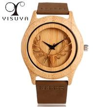 YISUYA Bamboo Wood Watch Men Brown Genuine Leather Band Holl