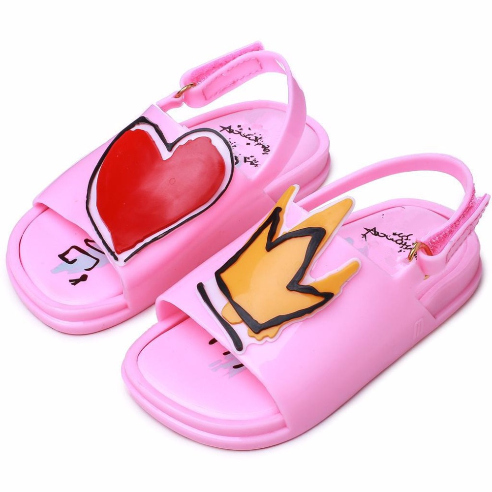 Melissa Kids Shoes Crown and Red Heart Sandals Rain Shoes Jelly Shoe Girl Non-slip Kids Sandal Summer Toddler Shoes