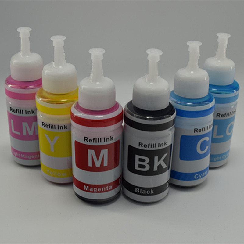 6 x 70ml/Color Refill Dye Ink Kit Kits For Epson Stylus Photo R210 R230 R310 R350 RX510 RX630 RX650 Refillable Inkjet Printer