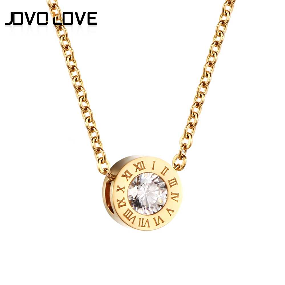 Fashion Crystal Necklace Pendant for Women Jewelry Gold/Rose Gold Color  Vintage Roman Number Design Round Necklace Jewelry