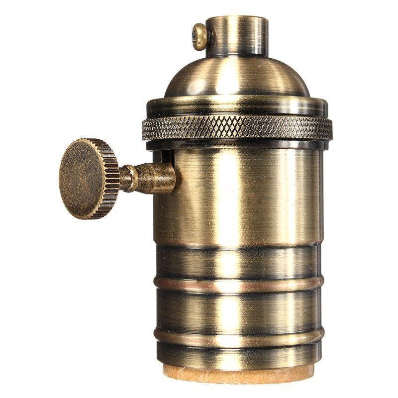 E26/E27 Retro Vintage Antique Edison Brass Copper Lamp Light Bulb Holder Socket Color:Antique Brass/red antique brass Qty:4X n light 407 06 53abw antique brass walnut
