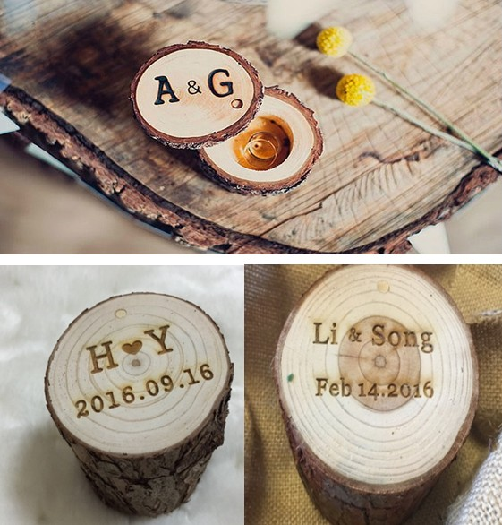 2016 Customize Wedding Wood Ring Holder Pillow Box Vintage Hessian Rustic Wooden Photography