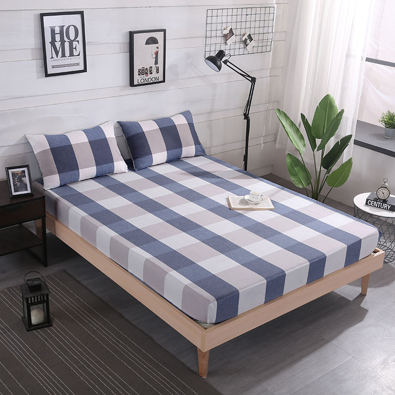 Washed Cotton Striped Printing Sheet Mattress Cover With Elastic Band Simple Comfortable Bedding Linens Home Textile