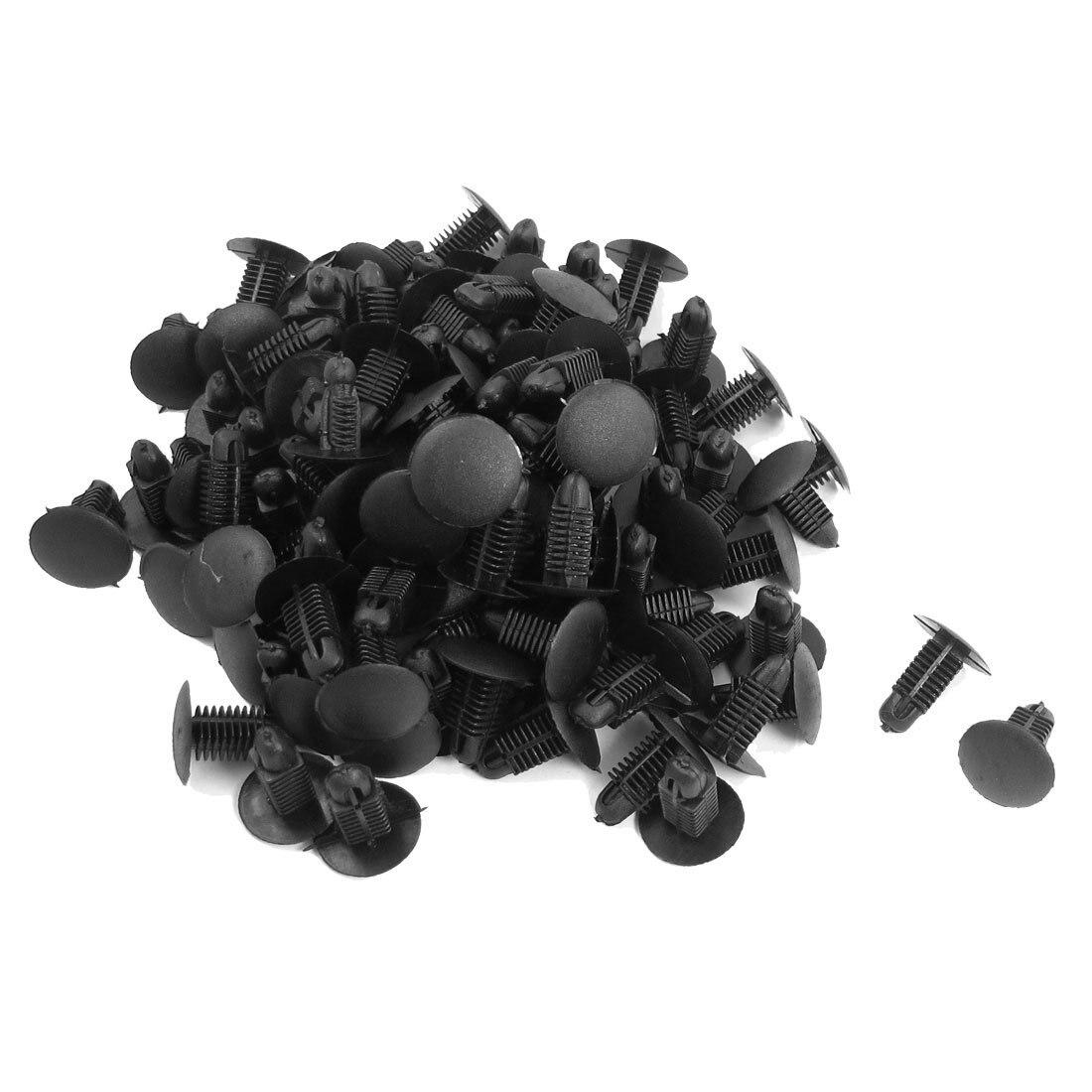 100 Pcs Car 8.6mmx8mm Hole Plastic Trim Boot Rivets Push Clip Black