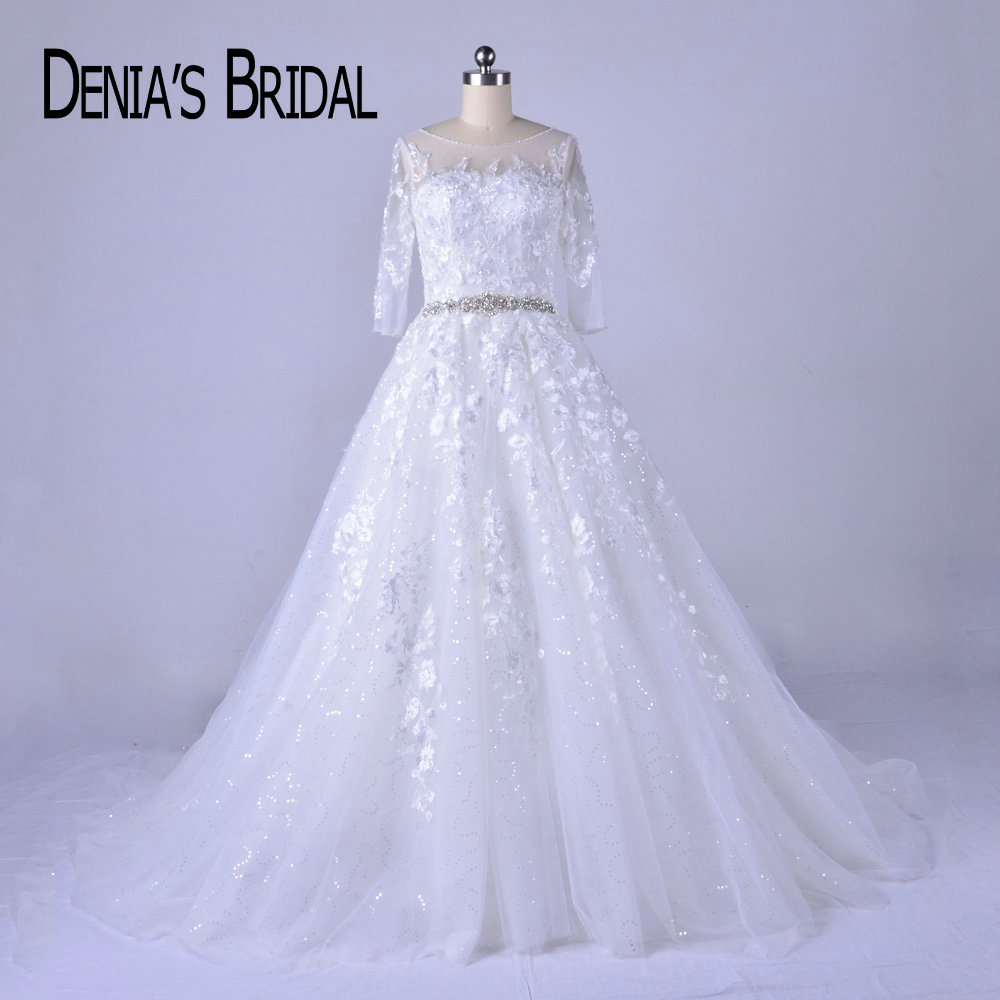 2018 A Line Wedding Dresses Crew Neck Beaded Belt Three Quarter Sleeves Applique Court Train Bridal Gowns