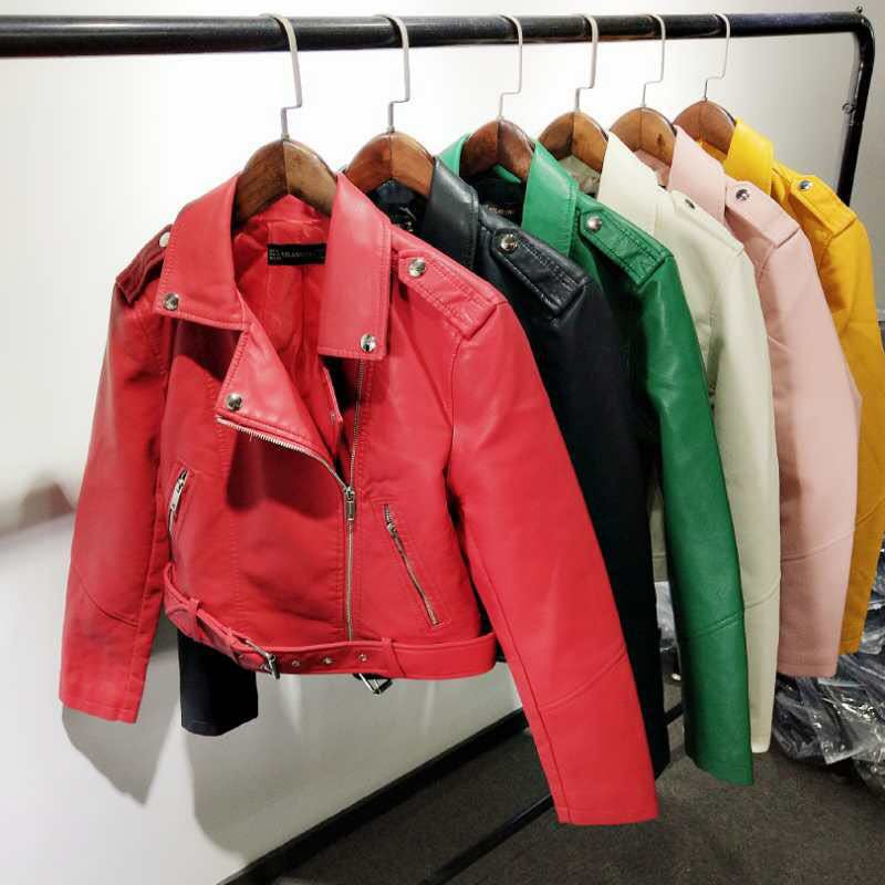 PU   Leather   Women Coat Cindy Color Slim Motorcycle Style Female Crop Top Coat
