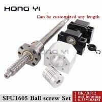 ШВП SFU1605 C7 с конца обработанной проката ballscrew 1605 шариковая гайка + гайка Корпус + BK12 BF12 конец поддержка + муфта RM1605 для ЧПУ