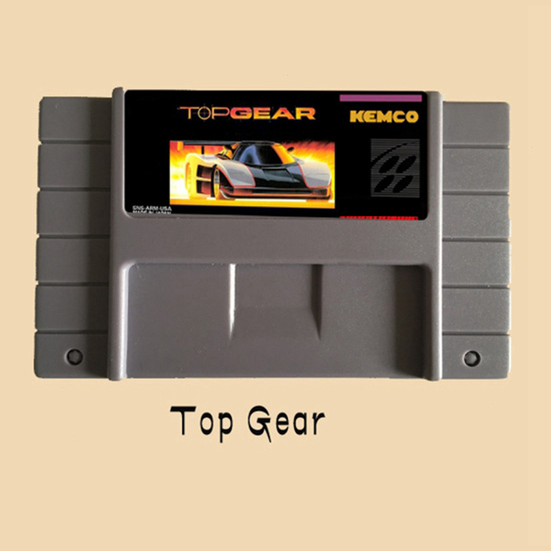 Top Gear USA Version 16 bit Big Gray Game Card For NTSC Game Player