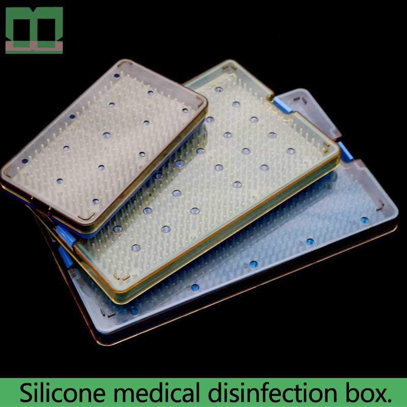 Instruments chirurgicaux à double pont de monocouche de gel de silice médical de stérilisation d'autoclave de boîte de désinfectant de Silicone