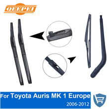 QEEPEI Front and Rear Wiper Blade Arm For Toyota Auris Mk 1 Europe 2006-2012 5-door Tourer High quality Natural Rubber