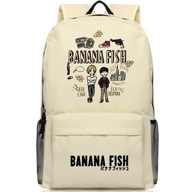 Mochila con dibujos de peces y plátano para hombre y mujer, Mochila Escolar de Oxford para Cosplay, bolso de viaje para Mochilas grandes y adolescentes