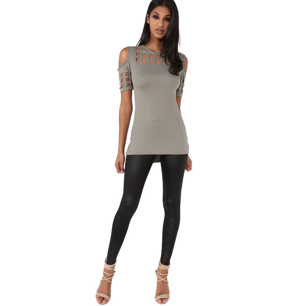 HTB1oL8bOVXXXXcXXXXXq6xXFXXXi - T-shirts Women Fashion Off The Shoulder Hollow Out Short Sleeve