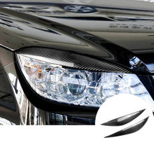 Untuk BENZ C Class W204 Carbon Fiber Headlight Kelopak Mata Alis Cover 2008-2013 2 Pcs(China)