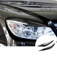 For Benz C Class W204 Carbon Fiber Headlight Eye Lid Eyebrow Cover 2008 2013 2pcs