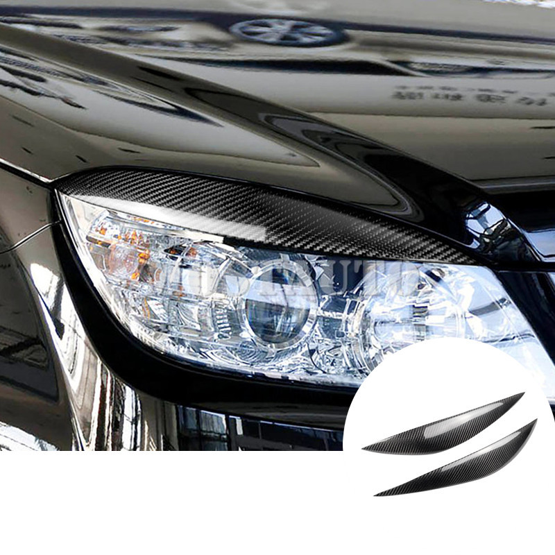 Pour Benz C classe W204 fibre de carbone phare oeil couvercle sourcils 2008-2013 2 pièces