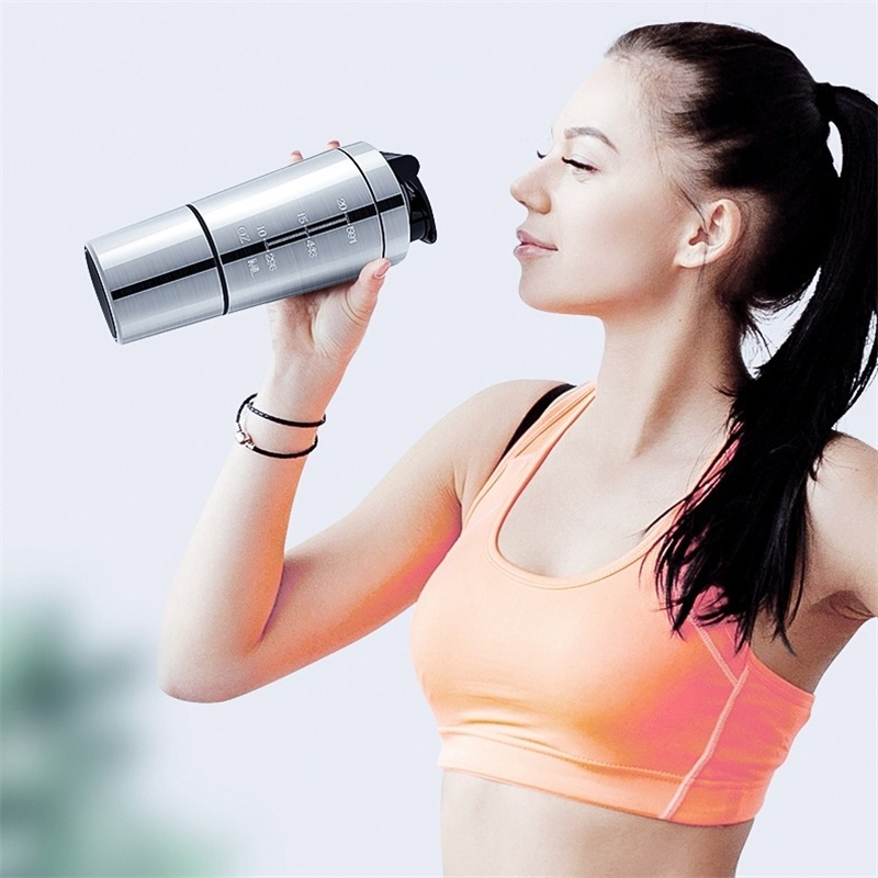 High Quality Protein Powder Shaker Bottle Stainless Steel Shaker Sports Fitness Metal Water Bottle Thermal Cup Protein Blender-in Water Bottles from Home & Garden on AliExpress