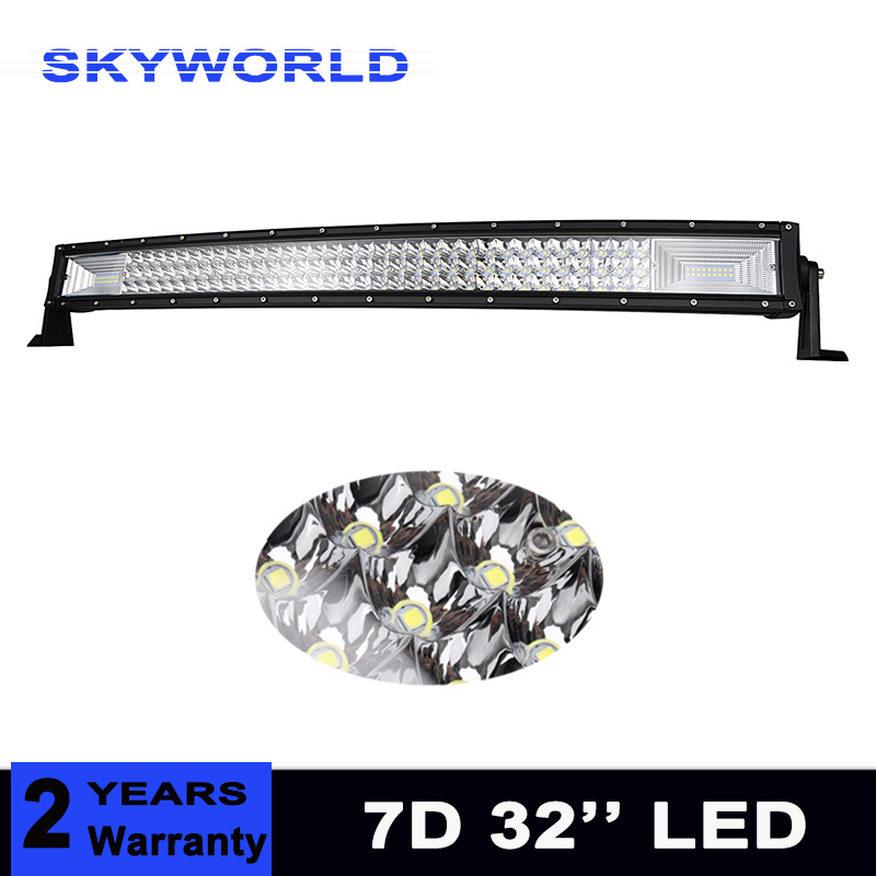 цена на Triple Row 7D 405W 32 inch Curved LED Work Light Bar Combo Beam Offroad Led Bar Driving Lamp Truck Boat SUV ATV 4x4 4WD 12v 24v