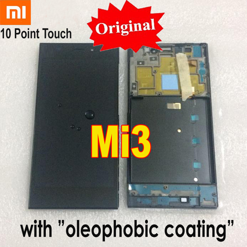 Original New Best LCD Display Screen For Xiaomi 3 Mi3 M3 Mi 3 Touch Screen digitizer assembly + Frame Phone Sensor Replacement