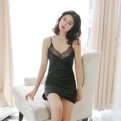 Для женщин Сексуальная Ночная рубашка Кружева Ночная сорочка на бретельках кокетливое ночное белье шелковый халат женская одежда