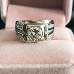 Image 2 - Send Silver Certificate! Yanleyu Big Boss Jewelry Ring 925 Sterling Silver 7mm AAA Zircon Wedding Engagement Rings for Men PR259