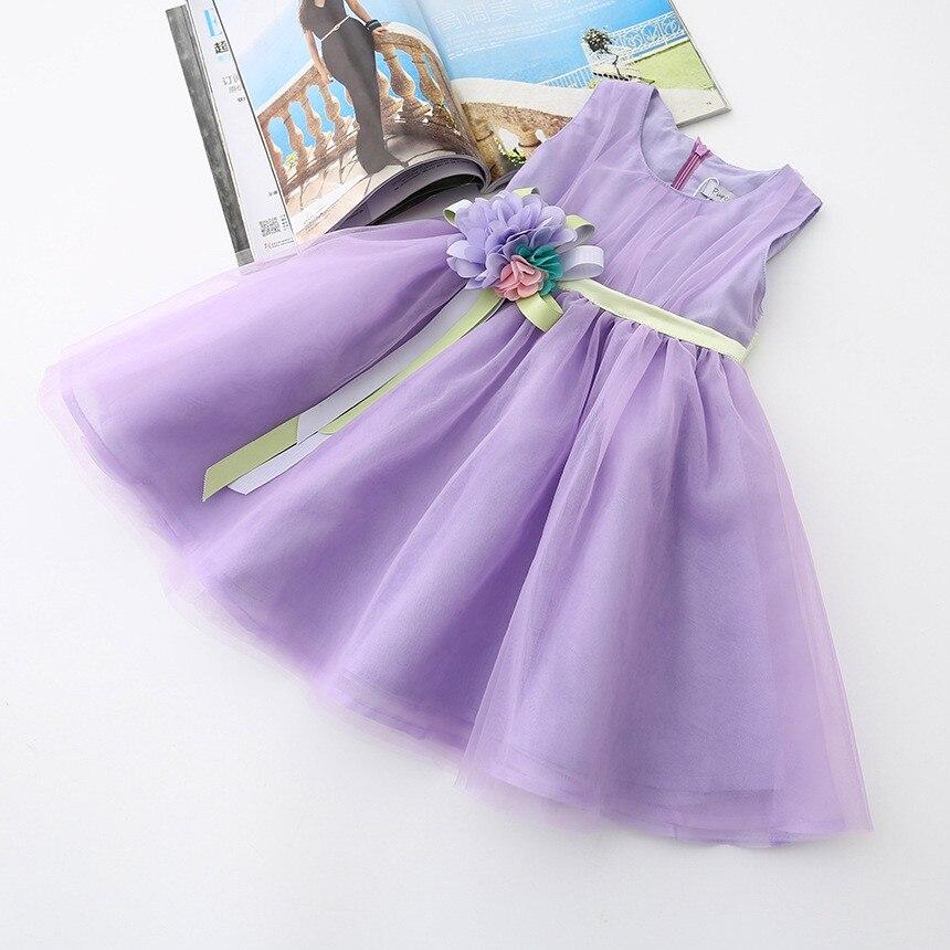 VIMIKID 17 New Girls tutu dress + belt flowers gauze children princess vest dress Girls lace dress kids clothes pink purple 8