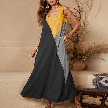 Lipswag 5XL Vintage Short Sleeve Long Dress Patchwork Casual Loose Plus Size Retro Maxi Dresses Women Summer O-neck Beach Dress 5
