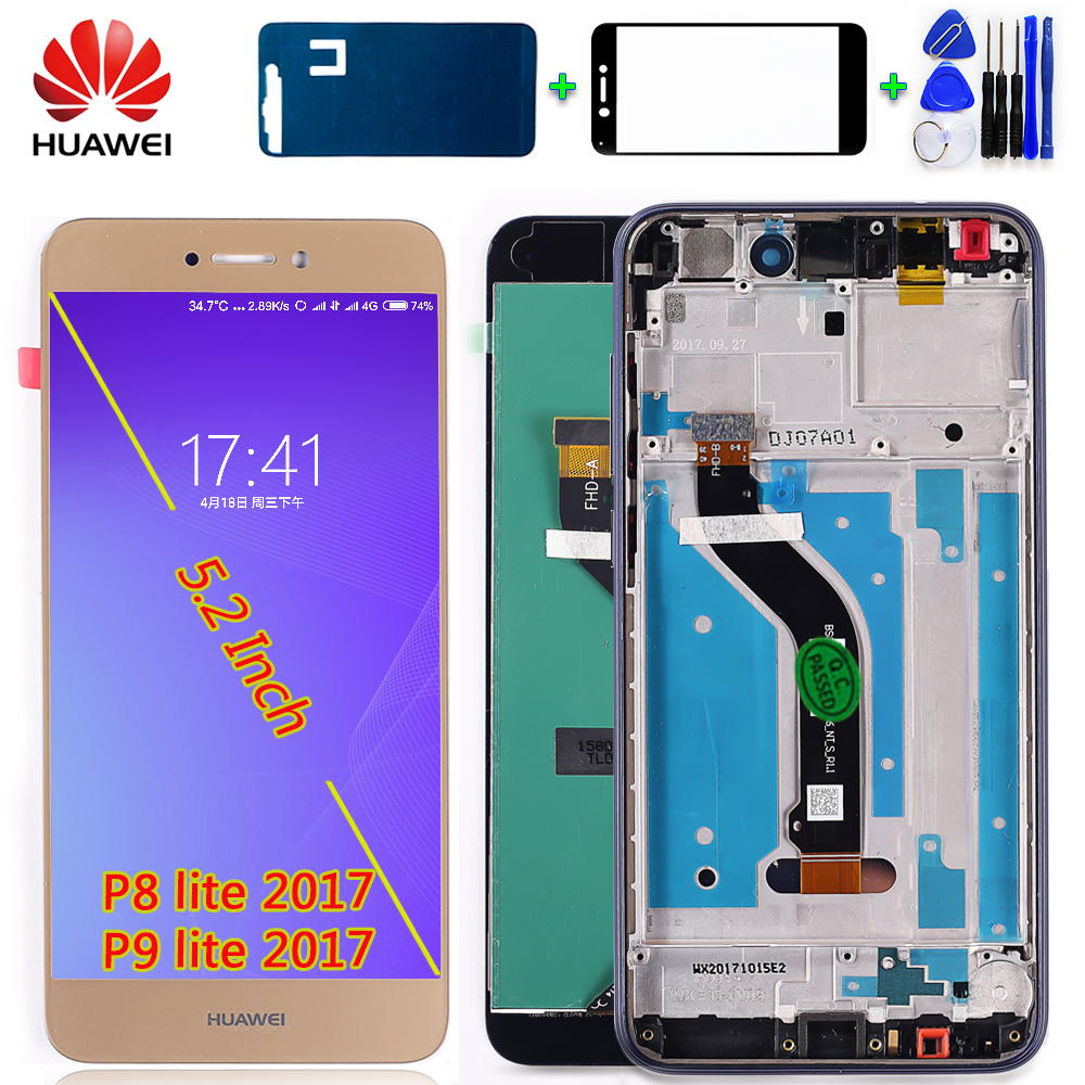 Huawei P9 Lite 2017 LCD Display For Huawei P8 Lite 2017 Digitizer Sensor Touch Screen Assembly 5.2 Inch 1920*1080 Frame With