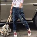 New 2016 Women Fashion Holes Denim Harem Pants Female Plus Size Loose Wide Leg Jeans Casual Jeans One size W536