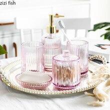 Набор для ванной из прозрачного стекла, набор из 5 предметов, держатель для зубной щетки/мыльница/ватные палочки/стакан для зубной щетки/бутылка для лосьона, Товары для ванной комнаты