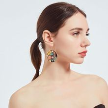 Pendant earrings in Europe and America the new flower big popular computer piece drip exaggerated fashion