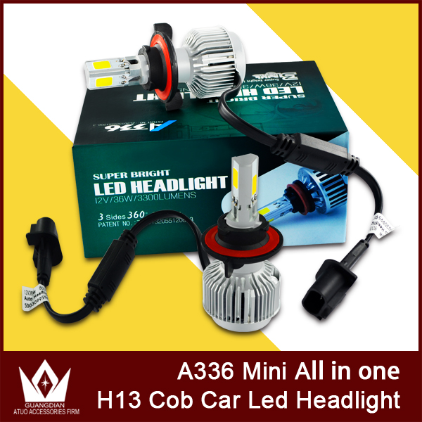 ФОТО Cheetah super bright 3side 360dgree emitting A336 12V 3300LM 36W 3000K 6000K H13 HI/LO COB H13 LED Headlight all in one