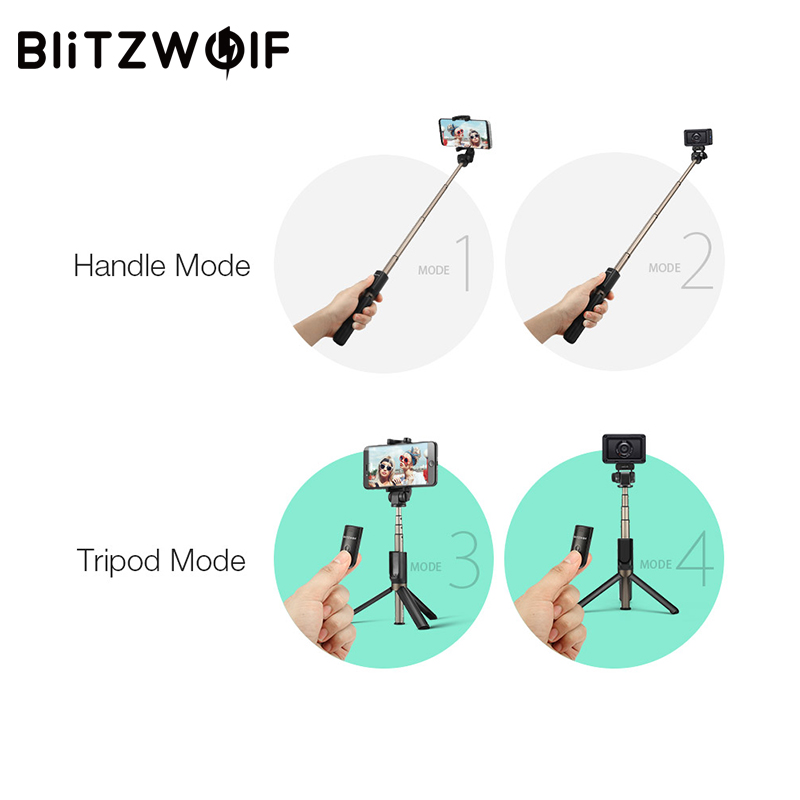 BlitzWolf 3 in 1 Wireless Bluetooth Selfie Stick Tripod Sport Versatile Monopod For Sport Camera For iPhone X 8 Smartphone
