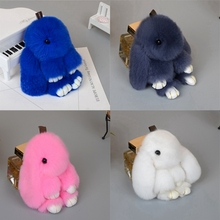 2017 Stuffed Play Dead Rabbit Fur Bunny Keychain Fashion fur pom pom Plush font b Toy