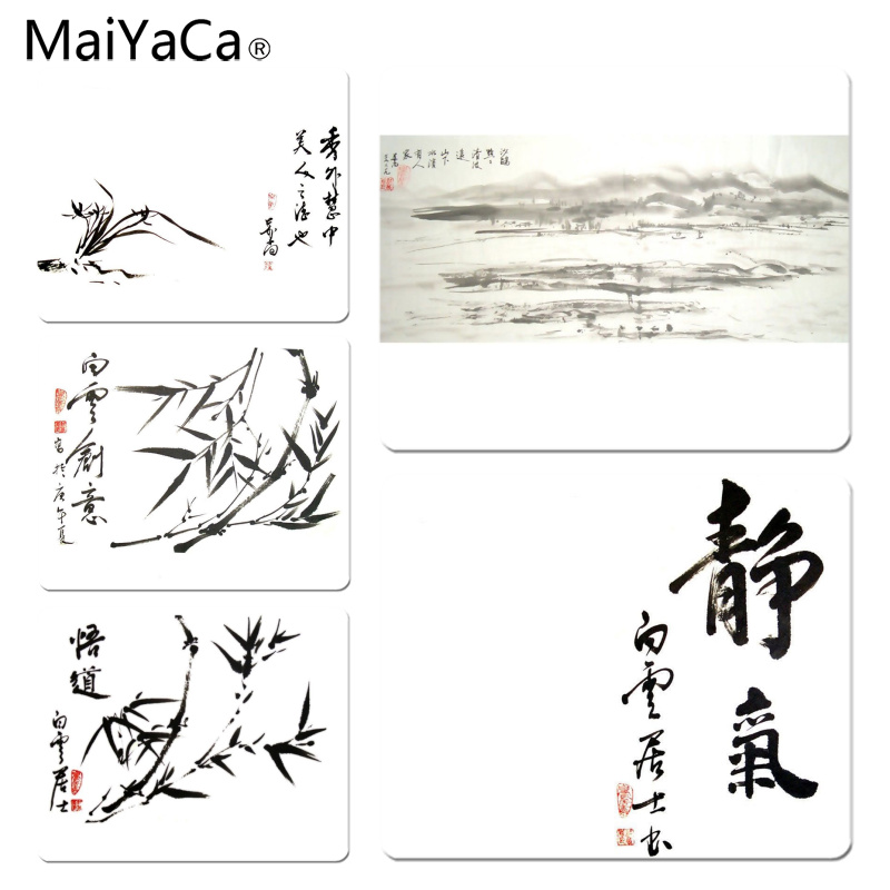 MaiYaCa Vintage Cool Chinese Calligraphy mouse pad gamer play mats Size for 18x22cm 25x29cm Rubber Mousemats