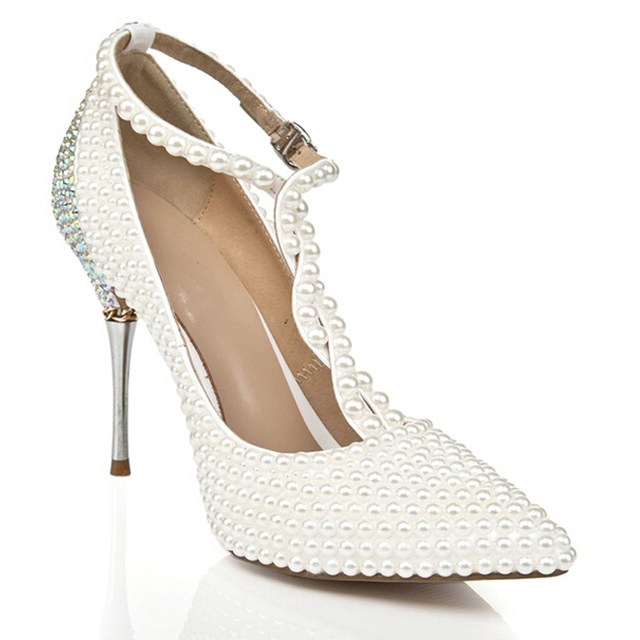 T Strap Ivory Wedding Shoes With Rhinestone Pointed Toe Stiletto Heels  Nightclub Club Shoes Wedding Party Prom Pumps