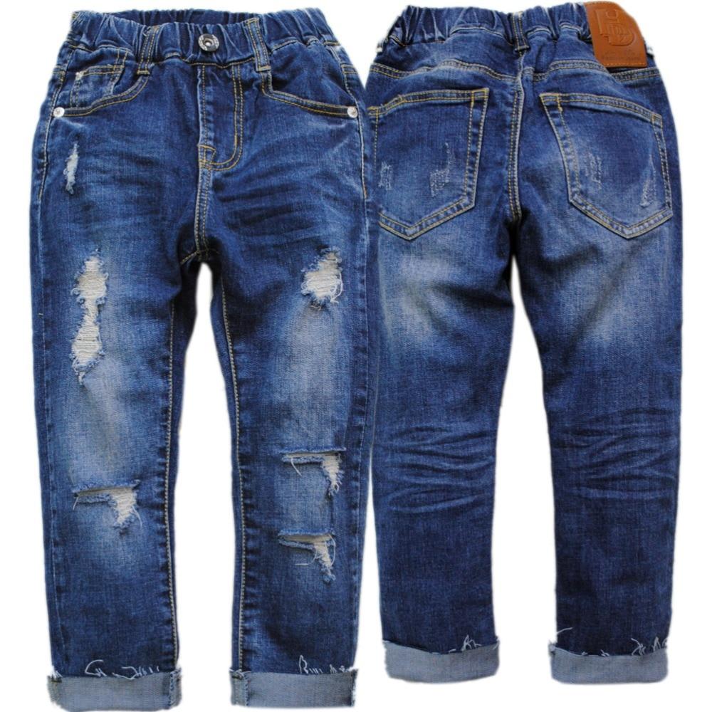 4099 fëmijë pantallona xhins xhaketë pantallona djem xhinse pantallona djali blu pranverë vjeshtë vrimë për fëmijë 2018 të reja