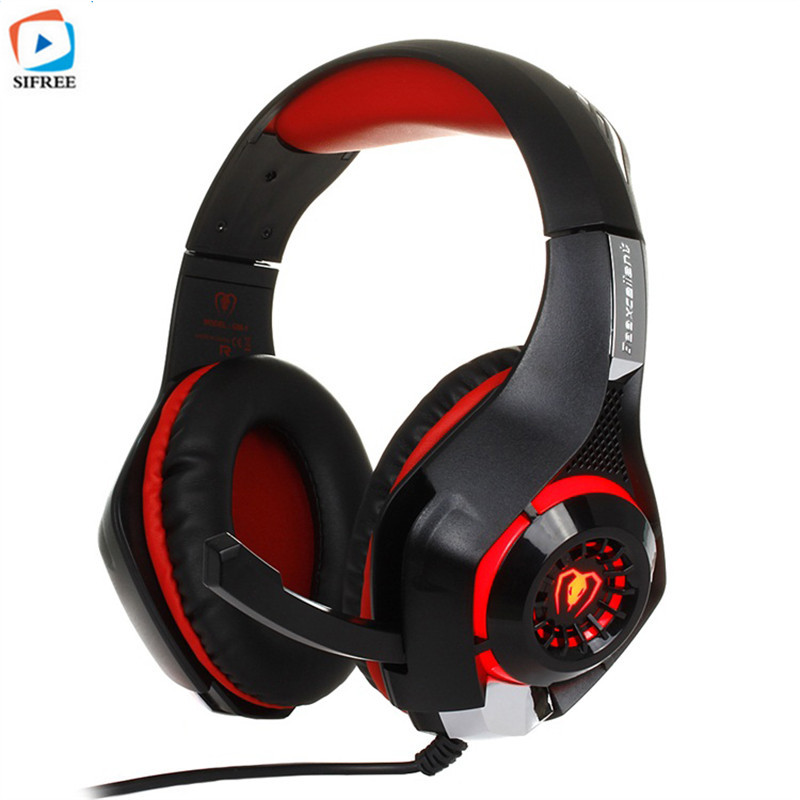 GM-1 Gaming Headphones For PS4/PC Stereo Game Headsets Audio Y Splitter Wired Headphones with Microphone LED Light Headband picun c3 rose gold headphones with microphone for girls ps4 gaming headsets for apple iphone se galaxy s8 s7 a5 sony leeco asus